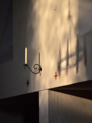 Wandkerze in der Rapperswiler Klosterkirche.